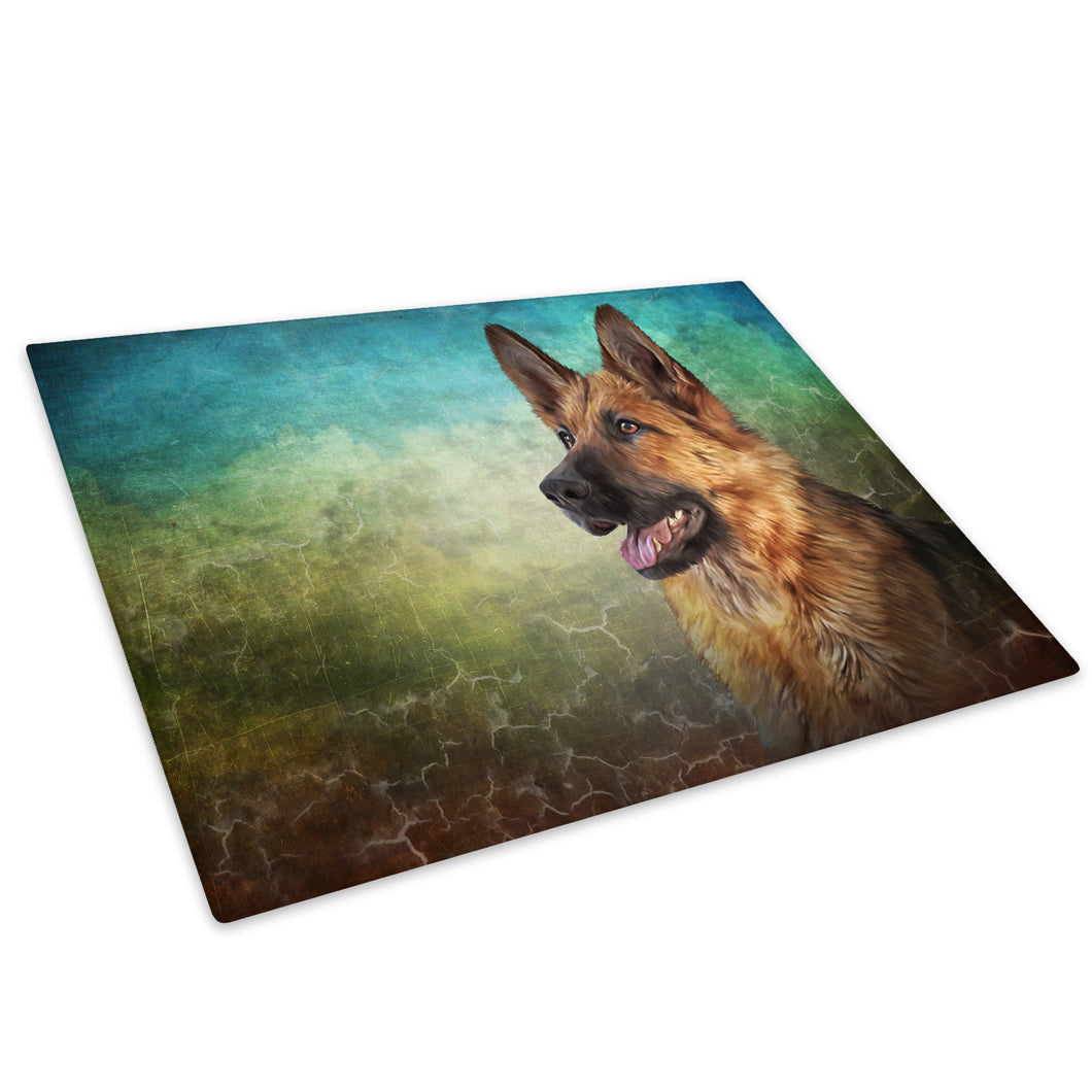 German Shepherd Blue Green Glass Chopping Board Kitchen Worktop Saver Protector - A714-Animal Chopping Board-WhatsOnYourWall