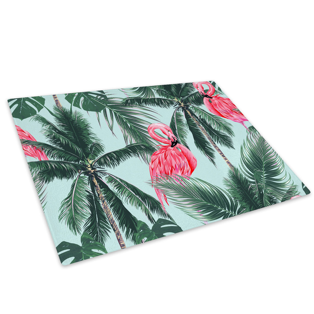 Green Blue Flamingo Floral Glass Chopping Board Kitchen Worktop Saver Protector - A715-Animal Chopping Board-WhatsOnYourWall