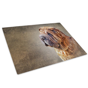 Brown Dog Yellow Black Glass Chopping Board Kitchen Worktop Saver Protector - A717