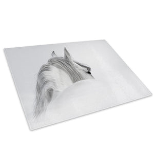White Horse Grey Black Glass Chopping Board Kitchen Worktop Saver Protector - A719-Animal Chopping Board-WhatsOnYourWall