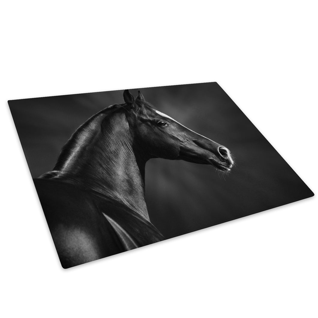 Black Horse Grey White Glass Chopping Board Kitchen Worktop Saver Protector - A720-Animal Chopping Board-WhatsOnYourWall