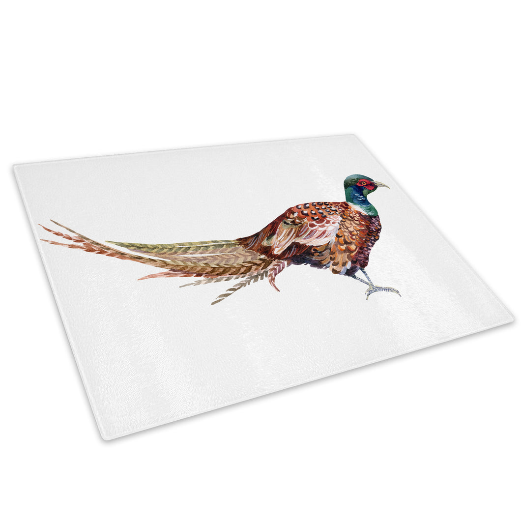 Brown Bird Watercolour Blue Glass Chopping Board Kitchen Worktop Saver Protector - A734-Animal Chopping Board-WhatsOnYourWall