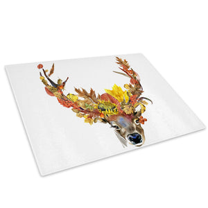 Watercolour Floral Deer  Glass Chopping Board Kitchen Worktop Saver Protector - A737