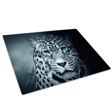 Blue Black White Leopard Glass Chopping Board Kitchen Worktop Saver Protector - A740-Animal Chopping Board-WhatsOnYourWall
