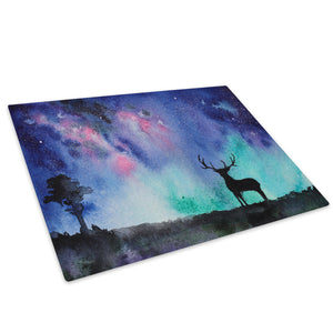 Blue Watercolour Stag Glass Chopping Board Kitchen Worktop Saver Protector - A742-Animal Chopping Board-WhatsOnYourWall