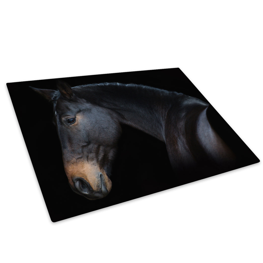Black Brown Horse Dark Glass Chopping Board Kitchen Worktop Saver Protector - A744-Animal Chopping Board-WhatsOnYourWall