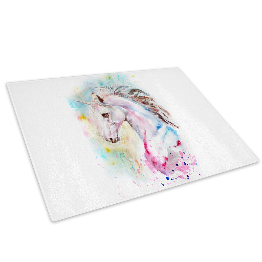 Pink Blue Watercolour Red Glass Chopping Board Kitchen Worktop Saver Protector - A751-Animal Chopping Board-WhatsOnYourWall