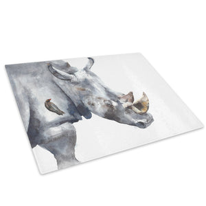 Grey Rhino Watercolour Glass Chopping Board Kitchen Worktop Saver Protector - A752-Animal Chopping Board-WhatsOnYourWall