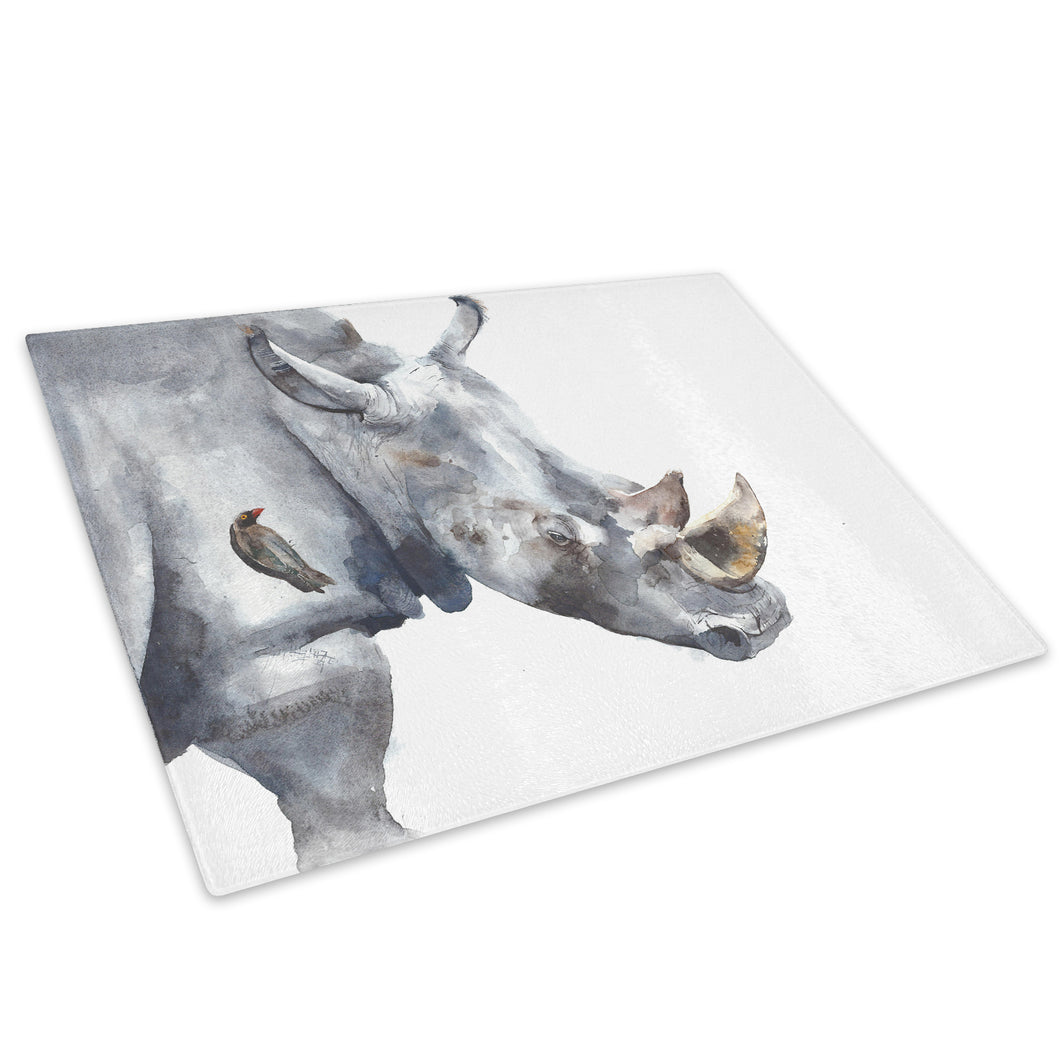 Grey Rhino Watercolour  Glass Chopping Board Kitchen Worktop Saver Protector - A752