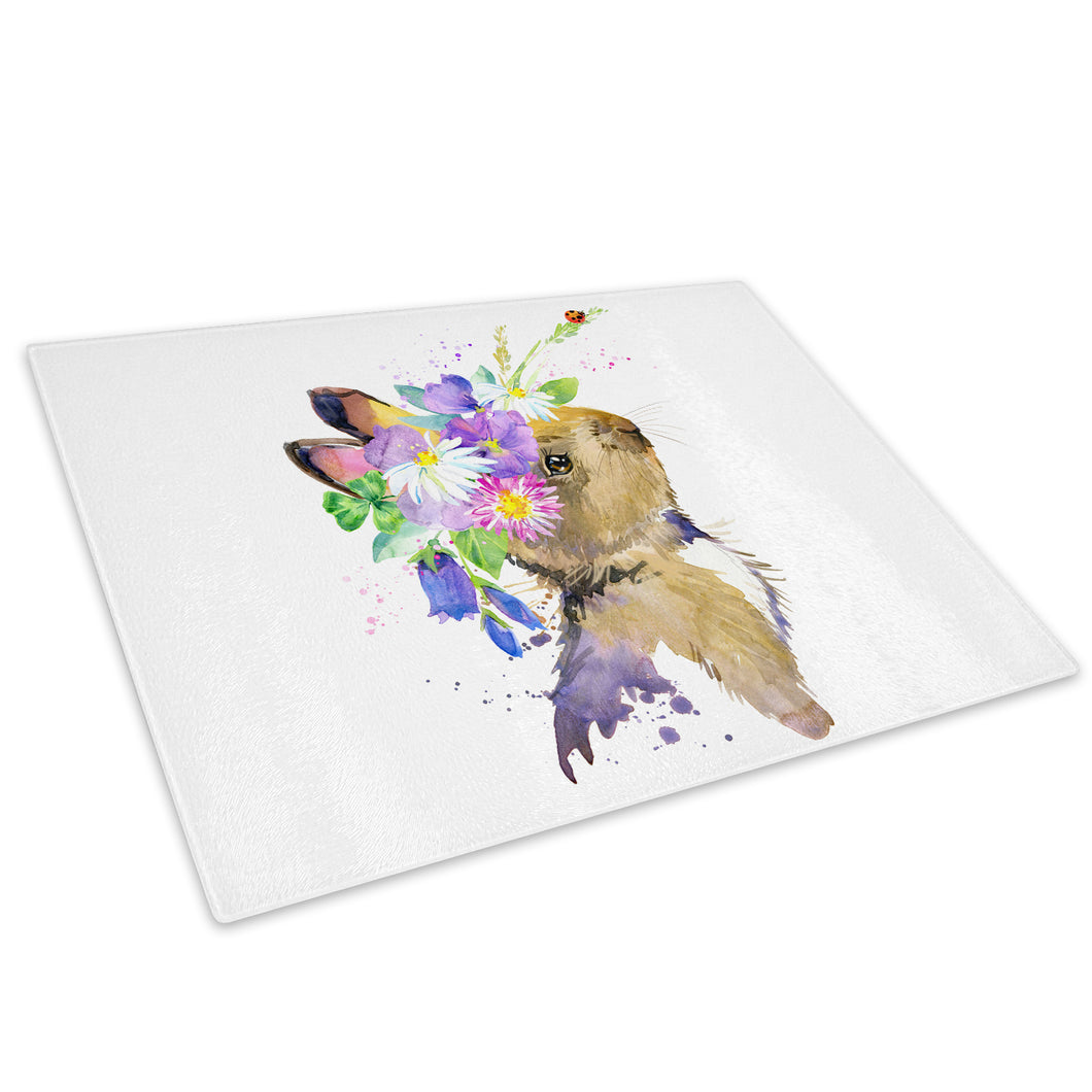 Brown Watercolour Rabbit Glass Chopping Board Kitchen Worktop Saver Protector - A755