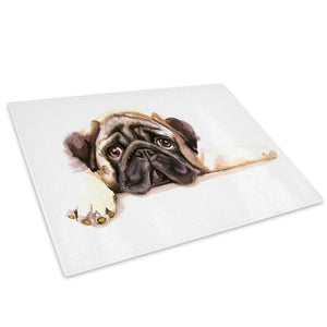 Brown Watercolour Dog Pug Glass Chopping Board Kitchen Worktop Saver Protector - A758-Animal Chopping Board-WhatsOnYourWall