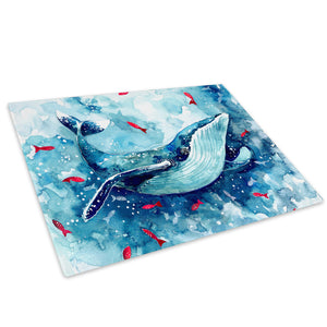 Blue Watercolour Whale Red Glass Chopping Board Kitchen Worktop Saver Protector - A760