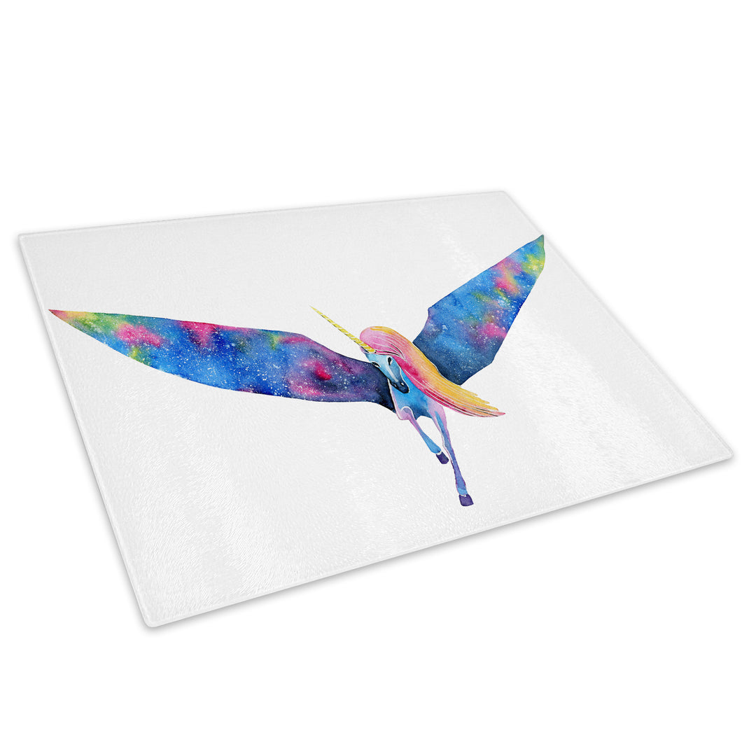 Blue Unicorn Watercolour Glass Chopping Board Kitchen Worktop Saver Protector - A764