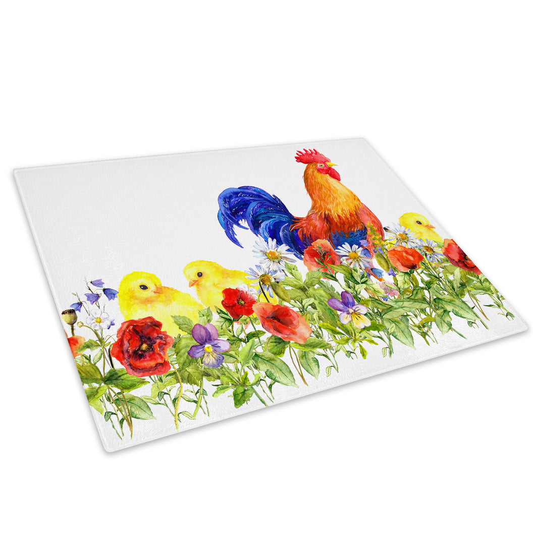 Watercolour Floral Chicken Glass Chopping Board Kitchen Worktop Saver Protector - A771