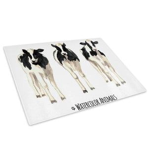 Black White Watercolour Cow Glass Chopping Board Kitchen Worktop Saver Protector - A772-Animal Chopping Board-WhatsOnYourWall