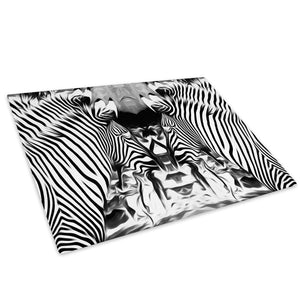 Black White Abstract Zebra Glass Chopping Board Kitchen Worktop Saver Protector - A774-Animal Chopping Board-WhatsOnYourWall