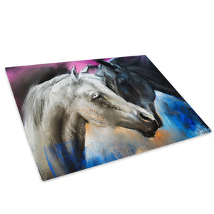 White Back Blue Horse Glass Chopping Board Kitchen Worktop Saver Protector - A782-Animal Chopping Board-WhatsOnYourWall