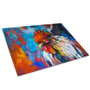 Orange Chicken Blue Red Glass Chopping Board Kitchen Worktop Saver Protector - A783-Animal Chopping Board-WhatsOnYourWall