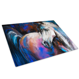 Blue Red Pink Black Horse  Glass Chopping Board Kitchen Worktop Saver Protector - A784