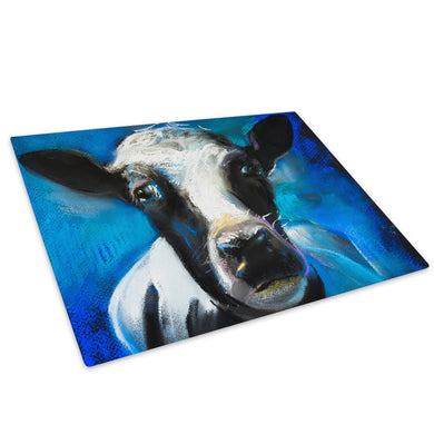 Blue Black White Cow  Red Glass Chopping Board Kitchen Worktop Saver Protector - A785