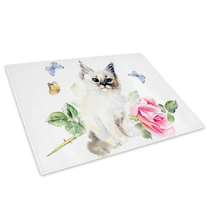 Pink Watercolour Kitten Glass Chopping Board Kitchen Worktop Saver Protector - A786-Animal Chopping Board-WhatsOnYourWall