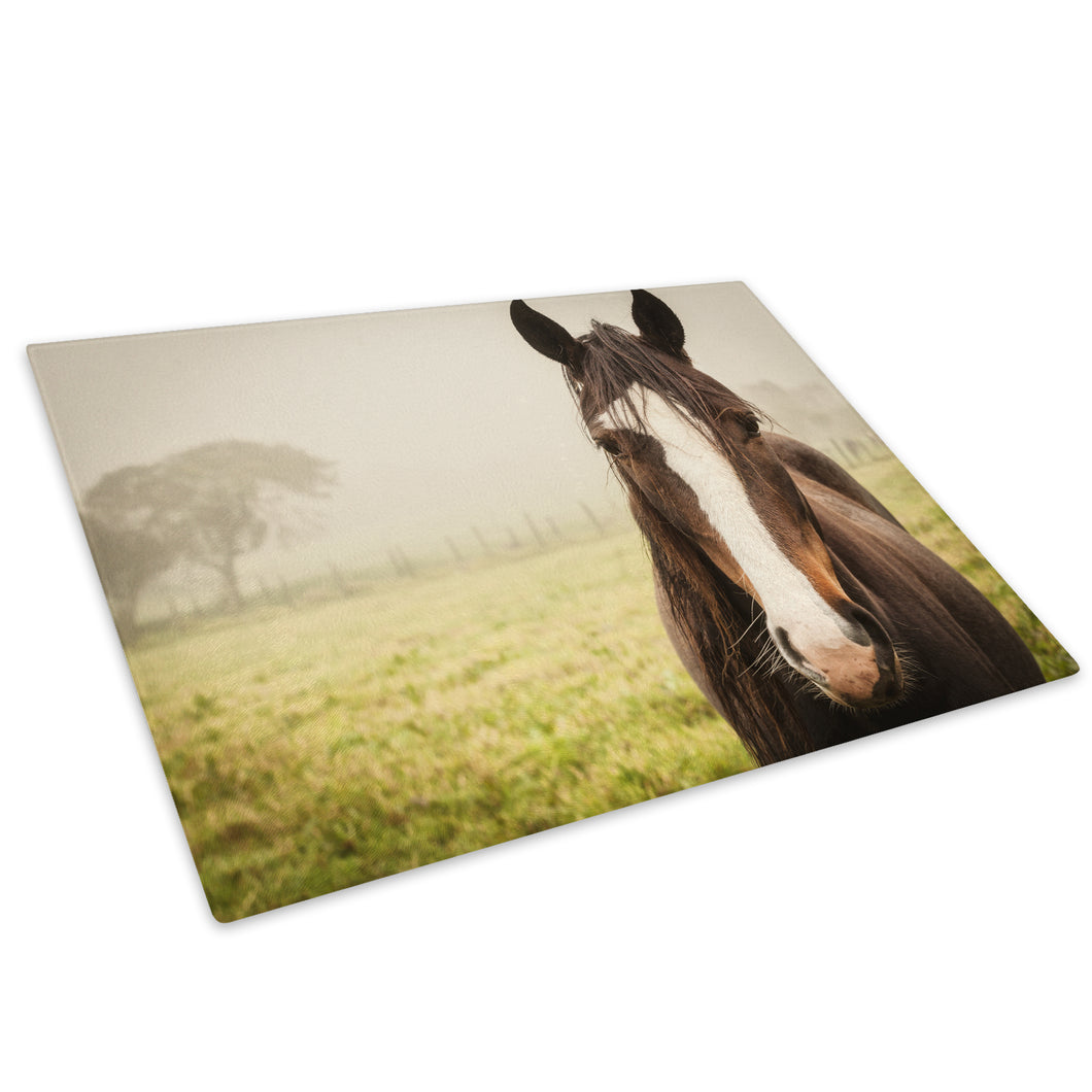 Brown Green Horse Fog Glass Chopping Board Kitchen Worktop Saver Protector - A787-Animal Chopping Board-WhatsOnYourWall
