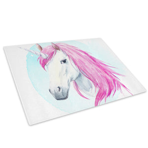 Pink Watercolour Unicorn  Glass Chopping Board Kitchen Worktop Saver Protector - A788