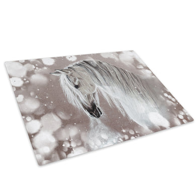 Grey Watercolour Horse Glass Chopping Board Kitchen Worktop Saver Protector - A789-Animal Chopping Board-WhatsOnYourWall