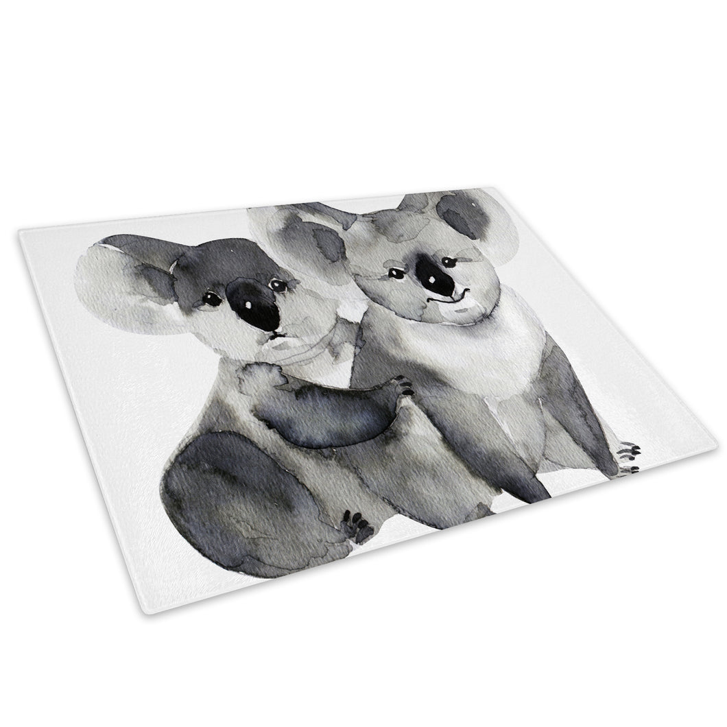 Grey Koala Watercolour Glass Chopping Board Kitchen Worktop Saver Protector - A790-Animal Chopping Board-WhatsOnYourWall