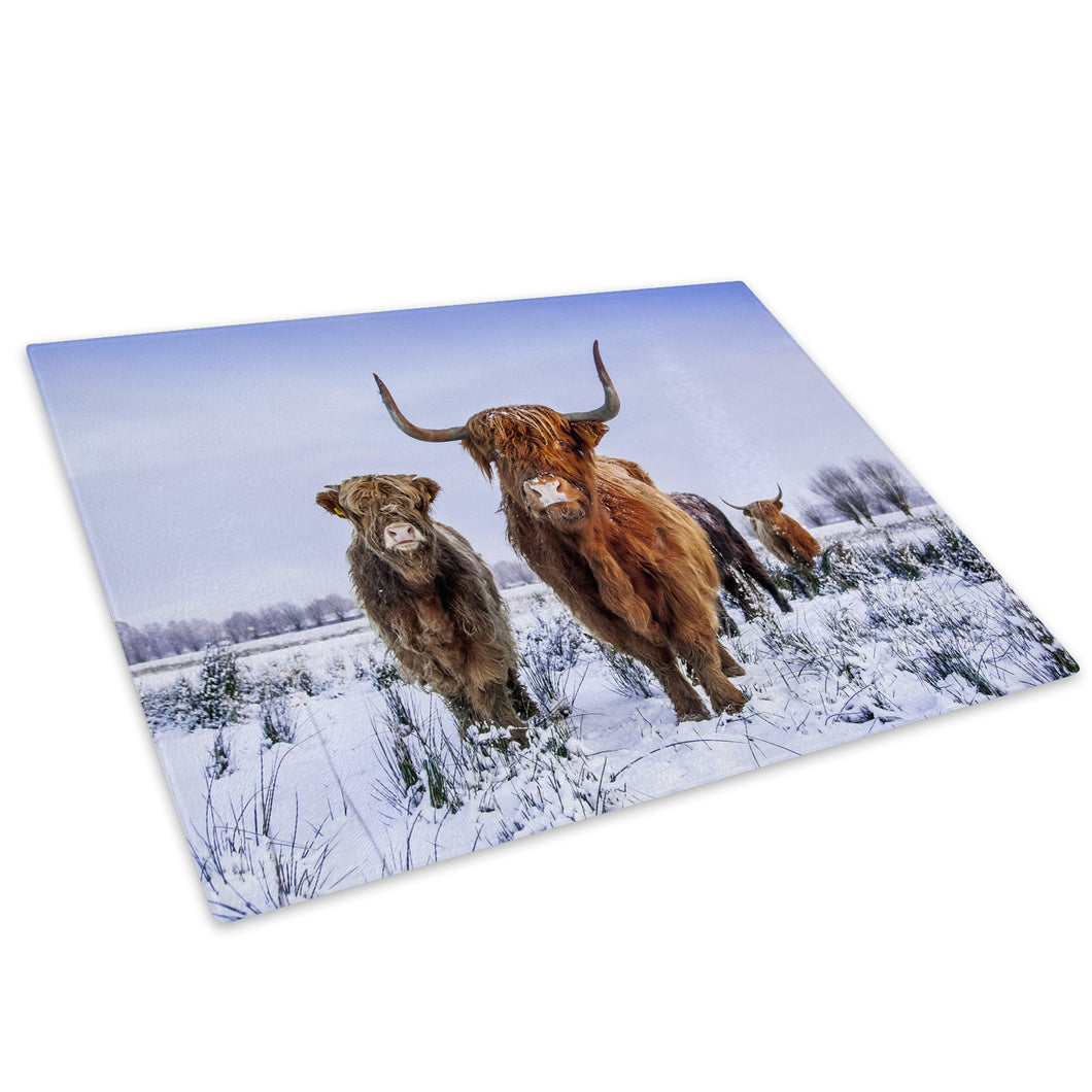 Brown Snow White Blue Cow Glass Chopping Board Kitchen Worktop Saver Protector - A791-Animal Chopping Board-WhatsOnYourWall