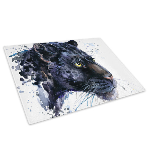 Grey Panther Watercolour Glass Chopping Board Kitchen Worktop Saver Protector - A792-Animal Chopping Board-WhatsOnYourWall