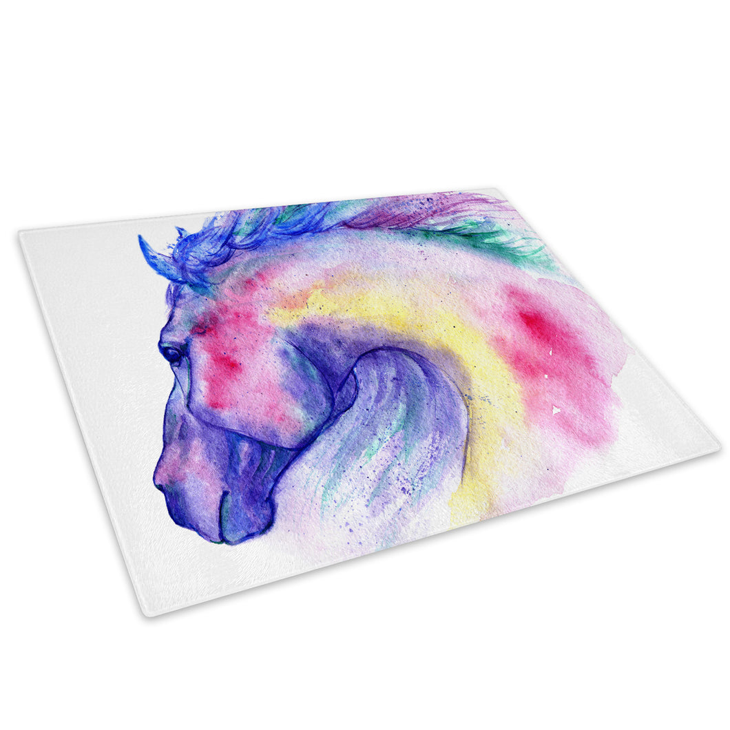 Pink Blue Horse Watercolour Glass Chopping Board Kitchen Worktop Saver Protector - A793-Animal Chopping Board-WhatsOnYourWall