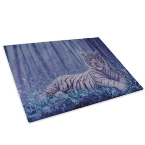 White Tiger Dark Forest Glass Chopping Board Kitchen Worktop Saver Protector - A794-Animal Chopping Board-WhatsOnYourWall