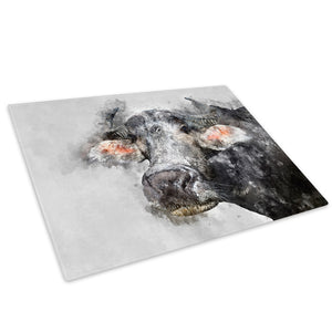 Grey Cow Watercolour Bull Glass Chopping Board Kitchen Worktop Saver Protector - A795-Animal Chopping Board-WhatsOnYourWall