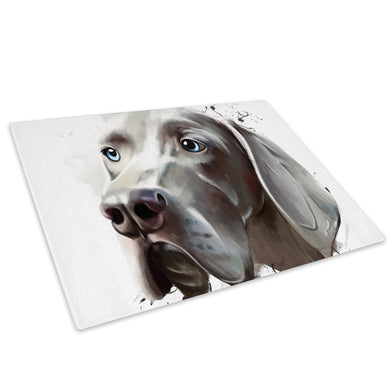 Grey Hound Watercolour  Glass Chopping Board Kitchen Worktop Saver Protector - A796