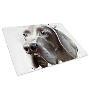Grey Hound Watercolour Glass Chopping Board Kitchen Worktop Saver Protector - A796-Animal Chopping Board-WhatsOnYourWall
