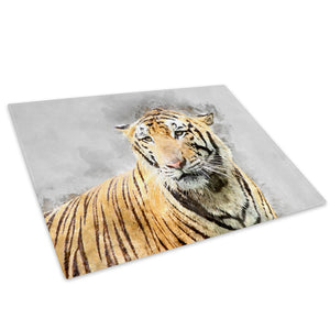 Orange Watercolour Tiger Glass Chopping Board Kitchen Worktop Saver Protector - A797-Animal Chopping Board-WhatsOnYourWall