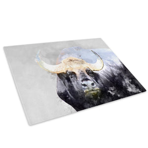 Grey Bull Watercolour Glass Chopping Board Kitchen Worktop Saver Protector - A798-Animal Chopping Board-WhatsOnYourWall
