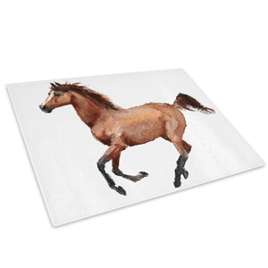 Brown Watercolour Horse Glass Chopping Board Kitchen Worktop Saver Protector - A799-Animal Chopping Board-WhatsOnYourWall