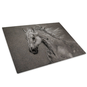 Grey Horse White Black Glass Chopping Board Kitchen Worktop Saver Protector - A800-Animal Chopping Board-WhatsOnYourWall