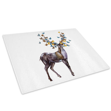 Brown Deer Stag Butterfly  Glass Chopping Board Kitchen Worktop Saver Protector - A801
