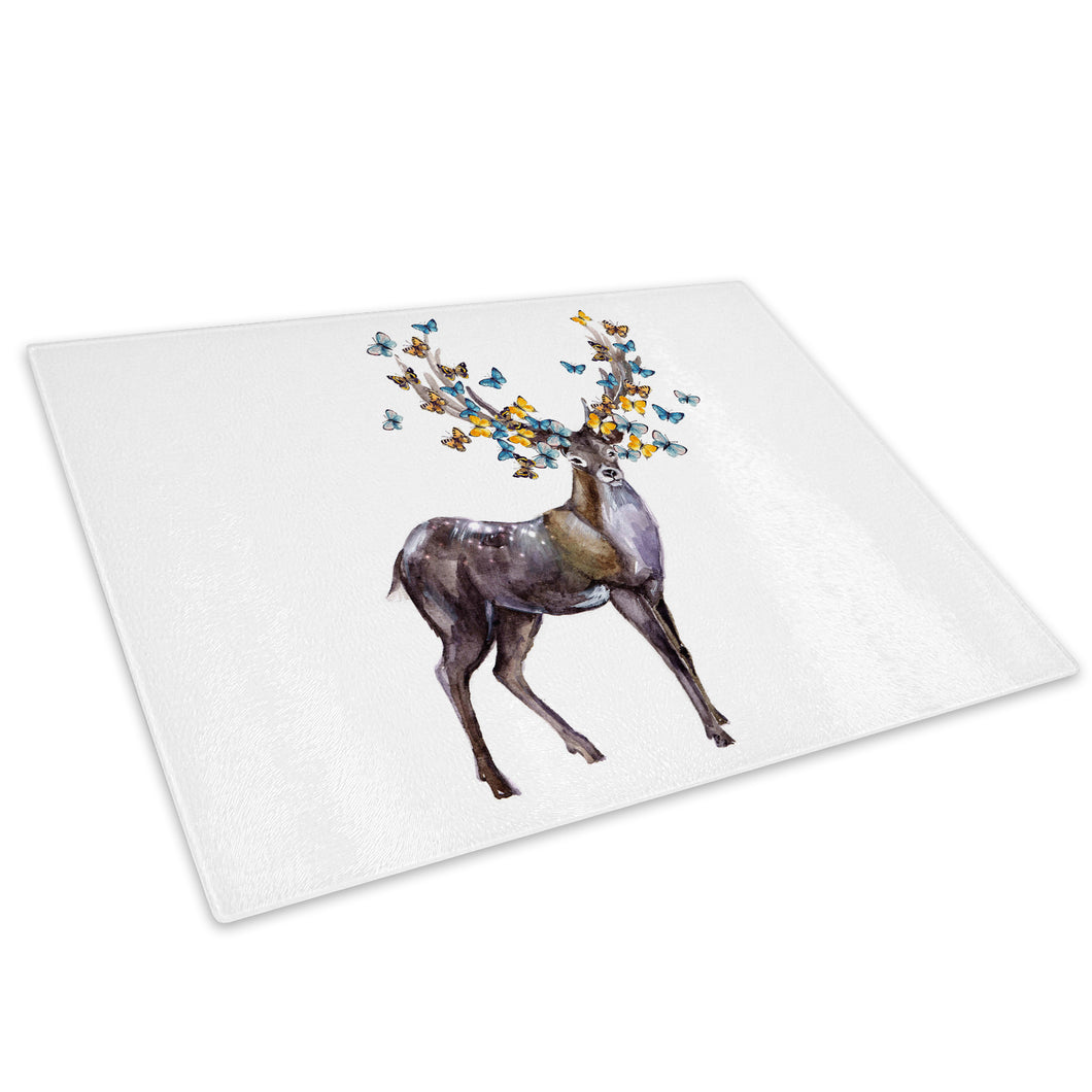 Brown Deer Stag Butterfly Glass Chopping Board Kitchen Worktop Saver Protector - A801-Animal Chopping Board-WhatsOnYourWall