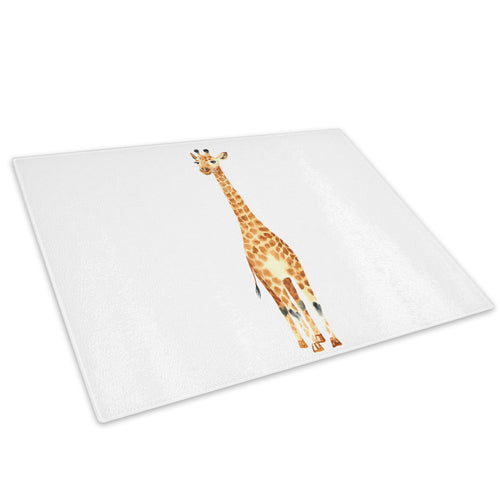 Brown Watercolour Giraffe Glass Chopping Board Kitchen Worktop Saver Protector - A802-Animal Chopping Board-WhatsOnYourWall
