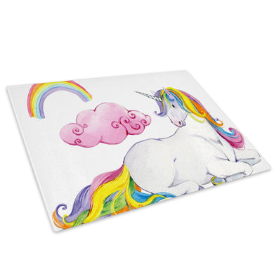 Pink Kids Cartoon Unicorn Glass Chopping Board Kitchen Worktop Saver Protector - A803-Animal Chopping Board-WhatsOnYourWall