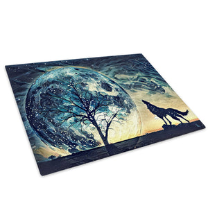 Blue Trippy Wolf Landscape Glass Chopping Board Kitchen Worktop Saver Protector - A804
