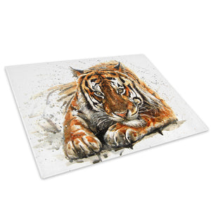 Brown Tiger Watercolour Glass Chopping Board Kitchen Worktop Saver Protector - A805-Animal Chopping Board-WhatsOnYourWall