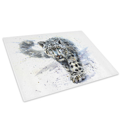Blue Watercolour Leopard Glass Chopping Board Kitchen Worktop Saver Protector - A806