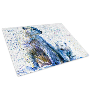 Blue Polar Bear Cub White Glass Chopping Board Kitchen Worktop Saver Protector - A807-Animal Chopping Board-WhatsOnYourWall