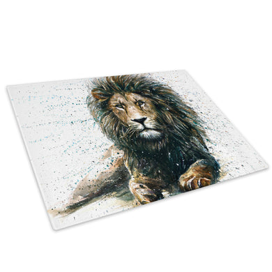 Brown Lion Watercolour Glass Chopping Board Kitchen Worktop Saver Protector - A808-Animal Chopping Board-WhatsOnYourWall