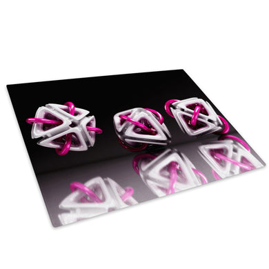 3D Pink White Black Glass Chopping Board Kitchen Worktop Saver Protector - AB001-Abstract Chopping Board-WhatsOnYourWall